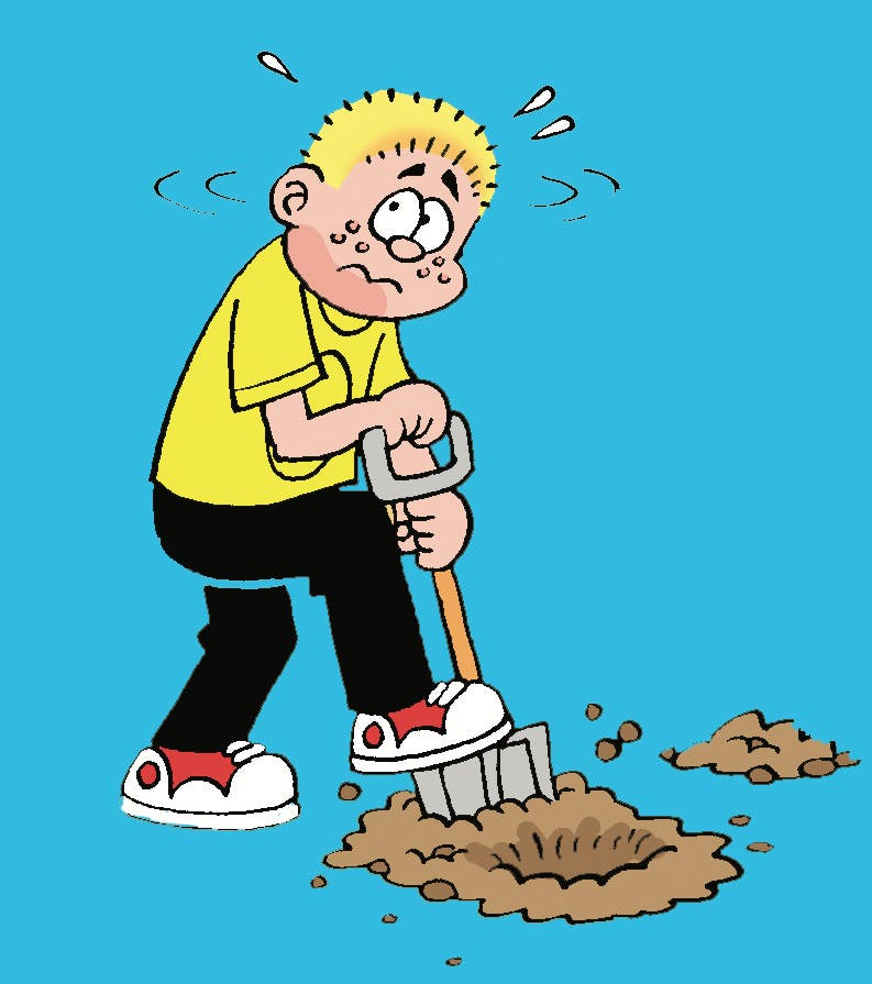 Les Pretend, from Beano. Les is the little kid with th ebig imagination, here he is pretending to dig up pirate treasure
