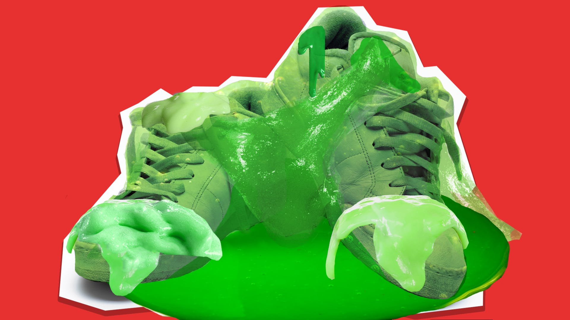 shoes covered in slime