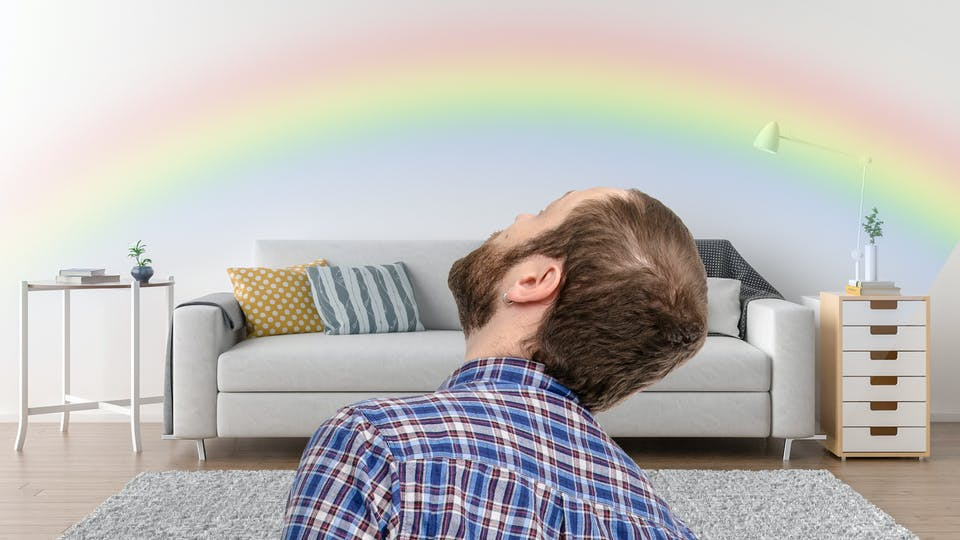 A rainbow in a living room