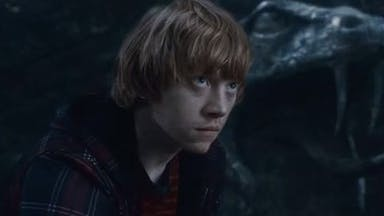 Ron Weasley looks scared in the dark
