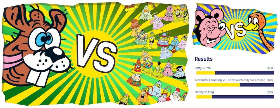 Last week - Big Eggo beat Biffo, This week - Alexander Lemming versus The Squelchies!