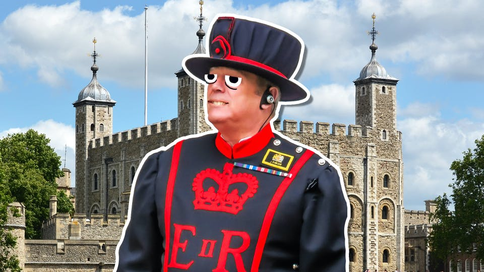 A beefeater outside the Tower of London