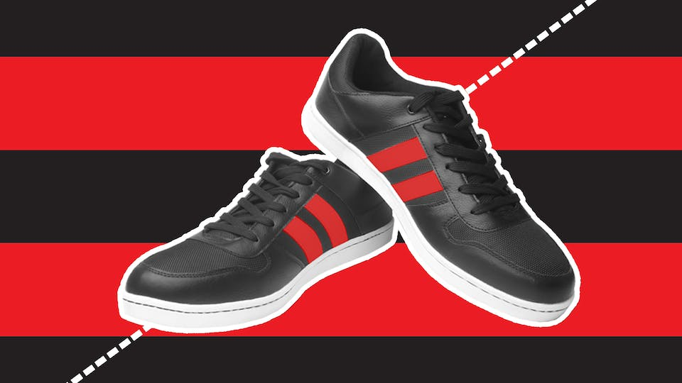 Black and red trainers