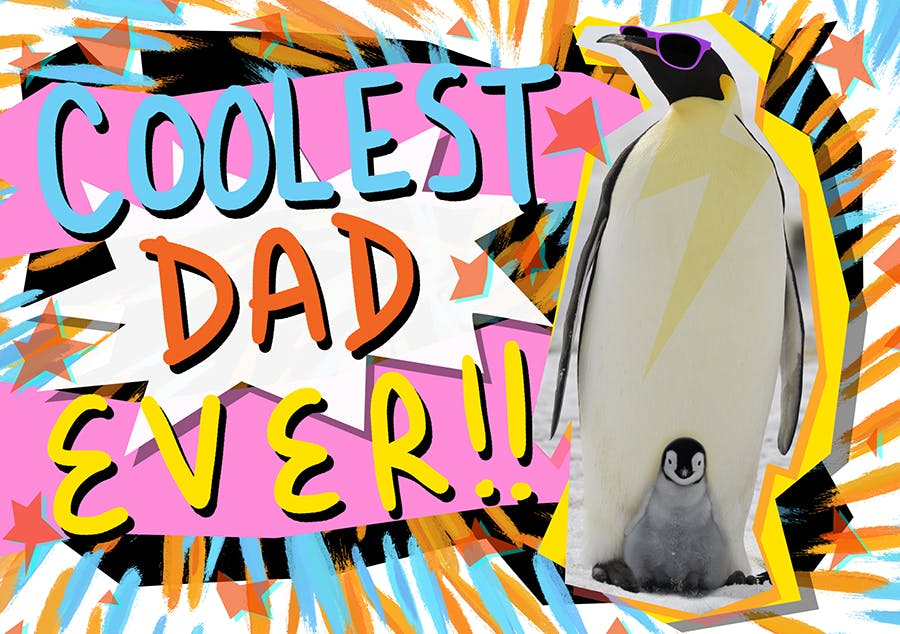 Father's Day card that reads Coolest Dad Ever! And had a picture of a penguin wearing sunglasses and a baby penguin between his feet