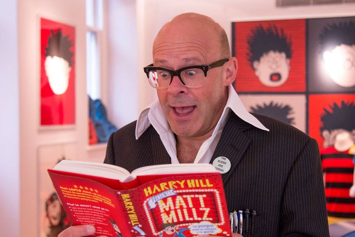 Harry Hill thoroughly enjoying his own book