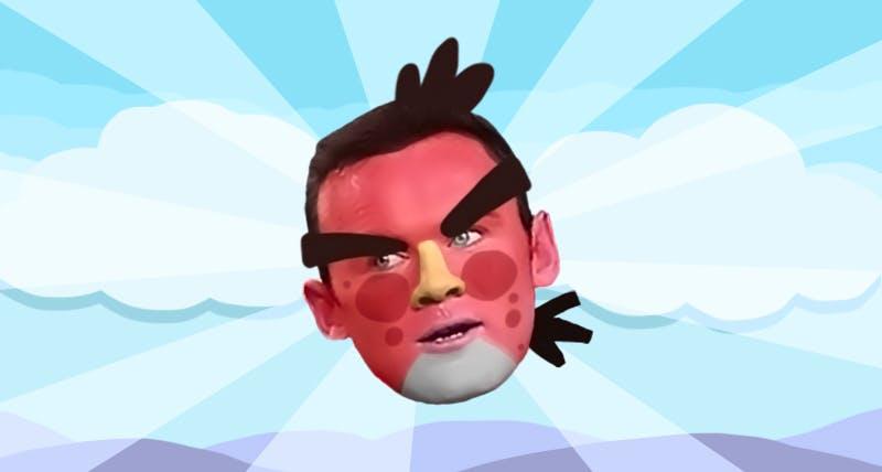 Wayne Rooney as an angry bird