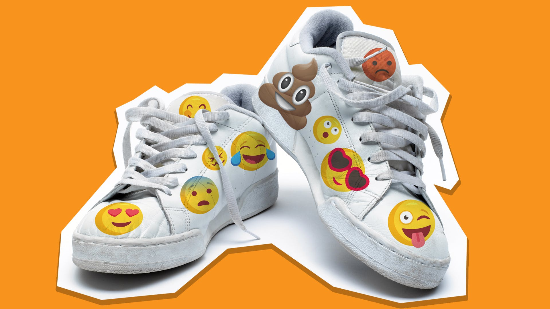 Shoes covered in emojis