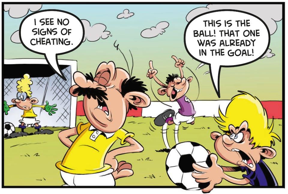 Ball Boy Beano comic football funny cheat