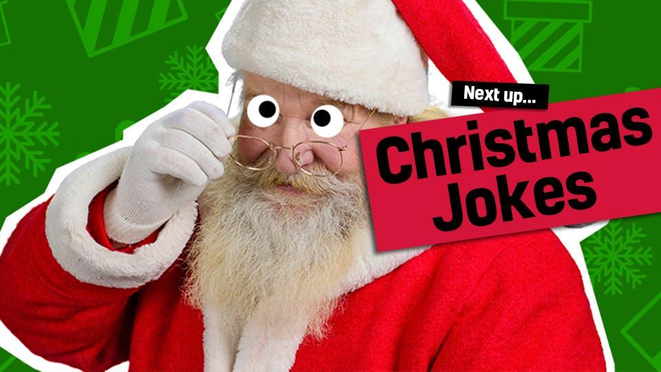 Santa looking over his glasses - link to Christmas jokes from gross Christmas cracker jokes