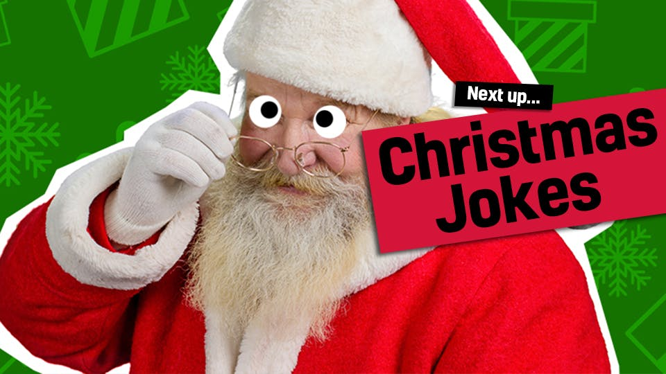 Santa looking over his glasses - link to Christmas jokes from gross Christmas cracker jokes