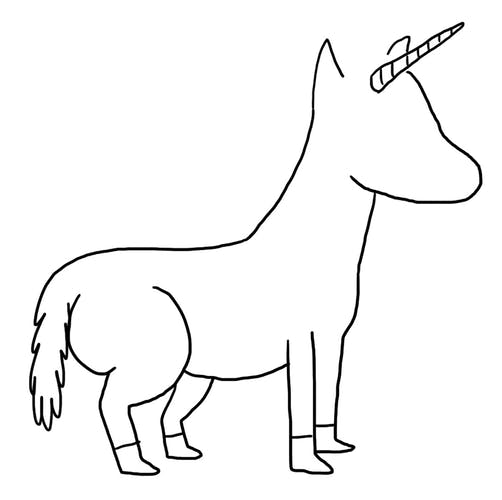 A faceless unicorn wearing shoes