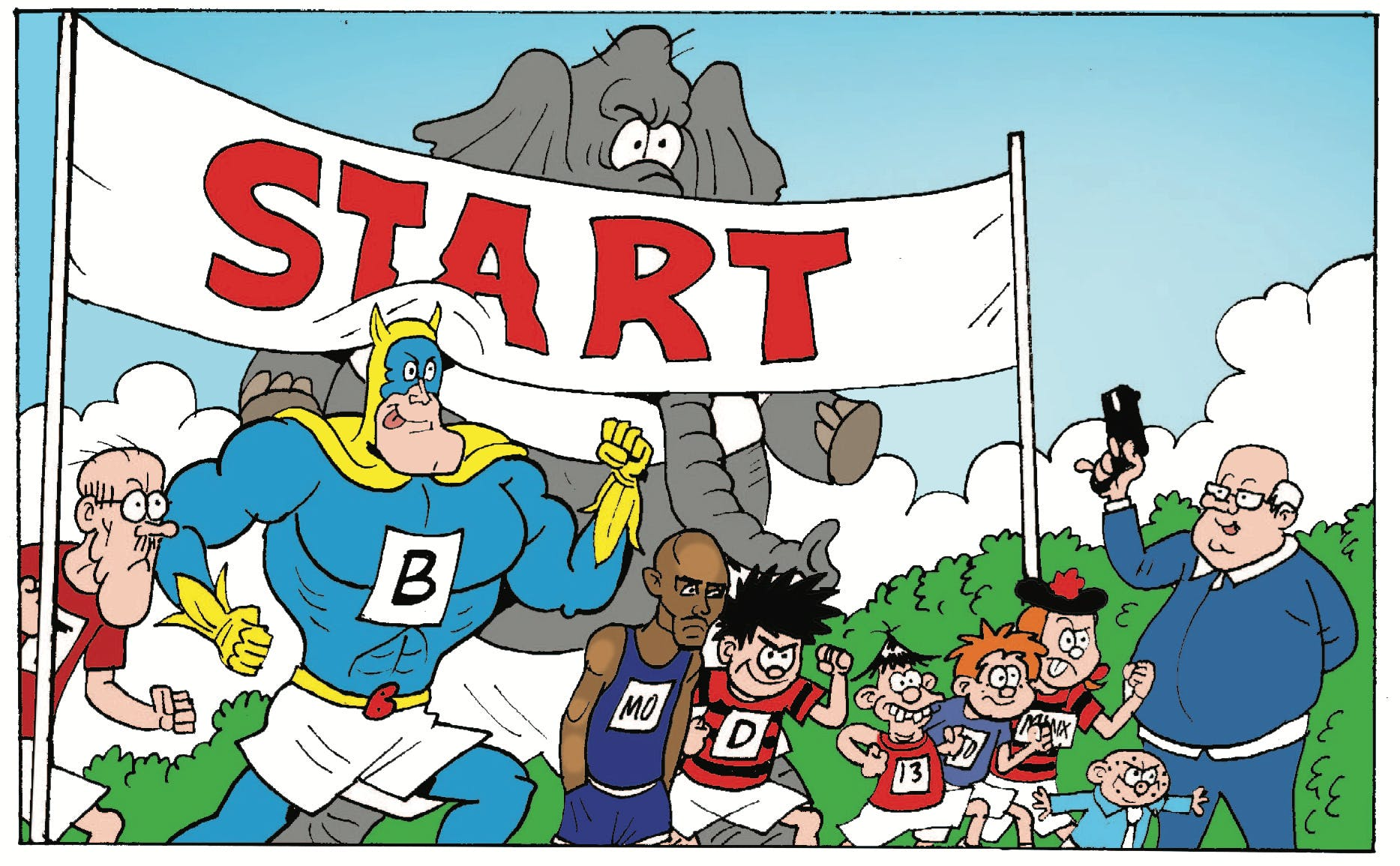 Mo farah takes on Beano's best - Teacher, Bananaman, Dennis, James, Dicky, Minnie, Spotty, and...an elephant?