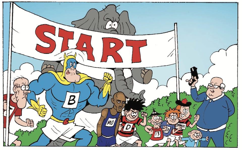 Mo farah takes on Beano's best - Teacher, Bananaman, Dennis, James, Dicky, Minnie, Spotty, and...an elephant?
