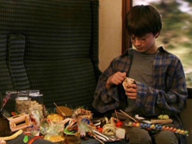 Harry Potter tucks into train feast