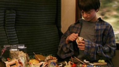 Harry Potter tucks into train feast
