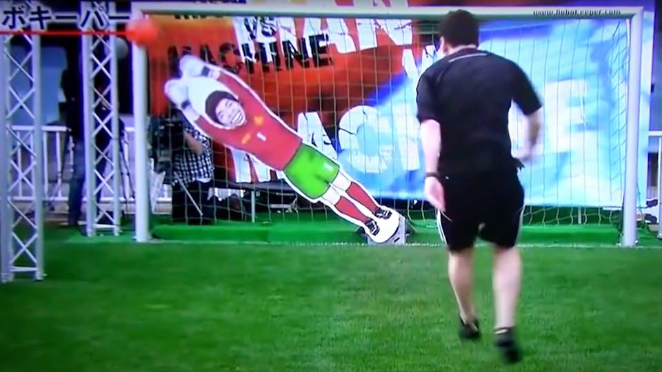 Lionel Messi versus a robotic goalie