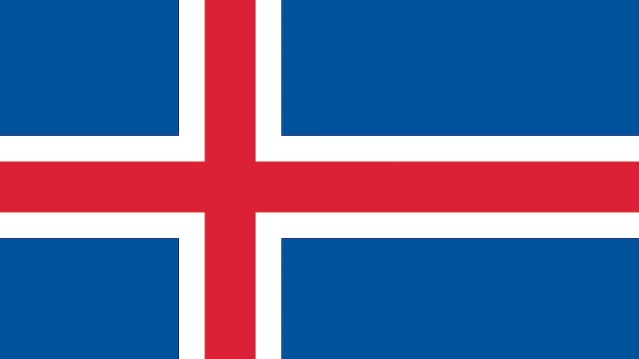 A blue flag with a red and white cross