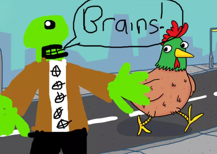 A Chicken running away from a zombie with one eye