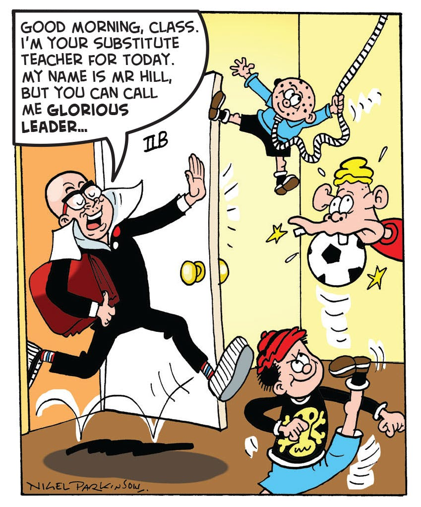 Harry Hill teaches the Bash Street Kids in Beano