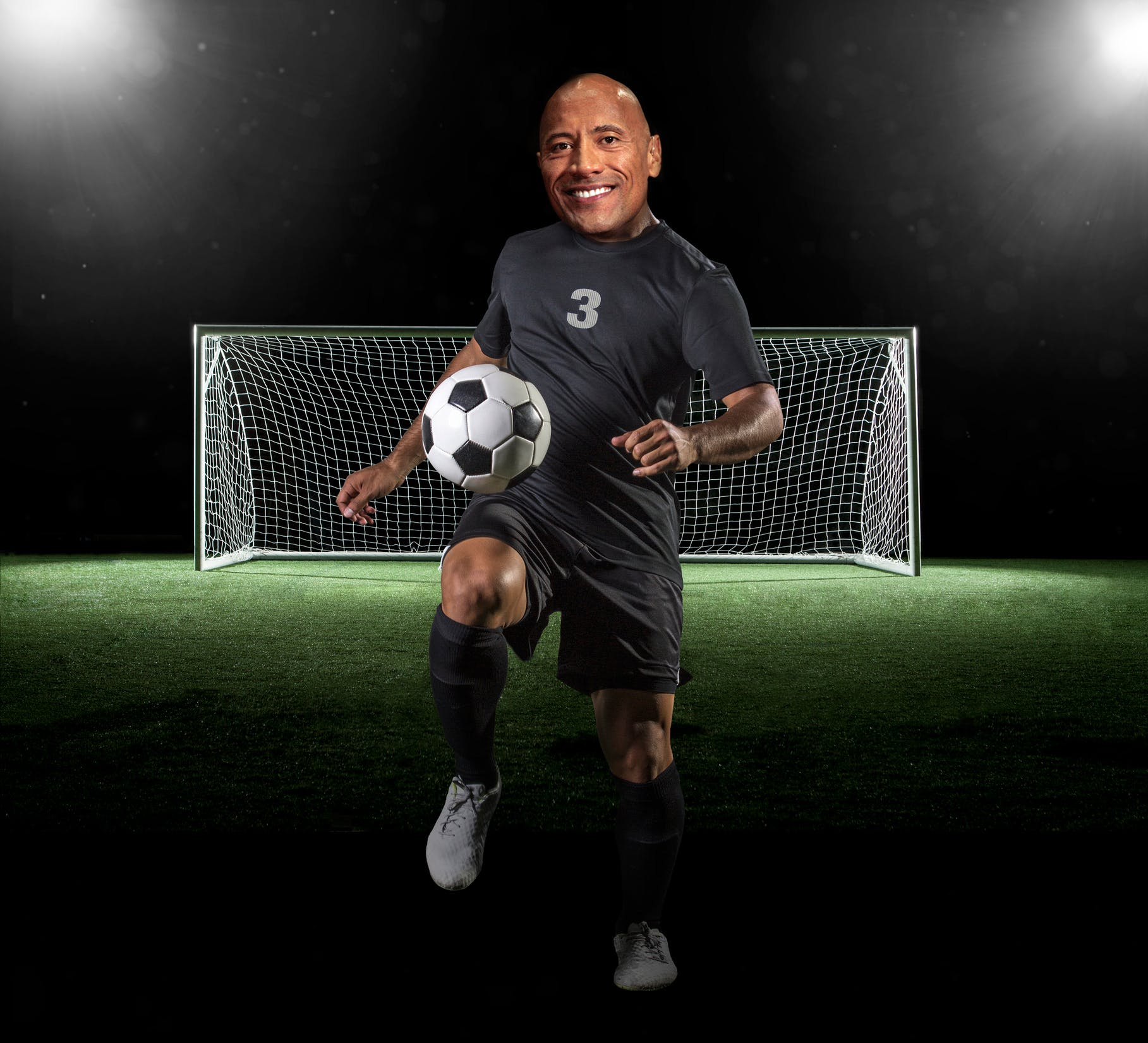 Dwayne The Rock Johnson as a footballer