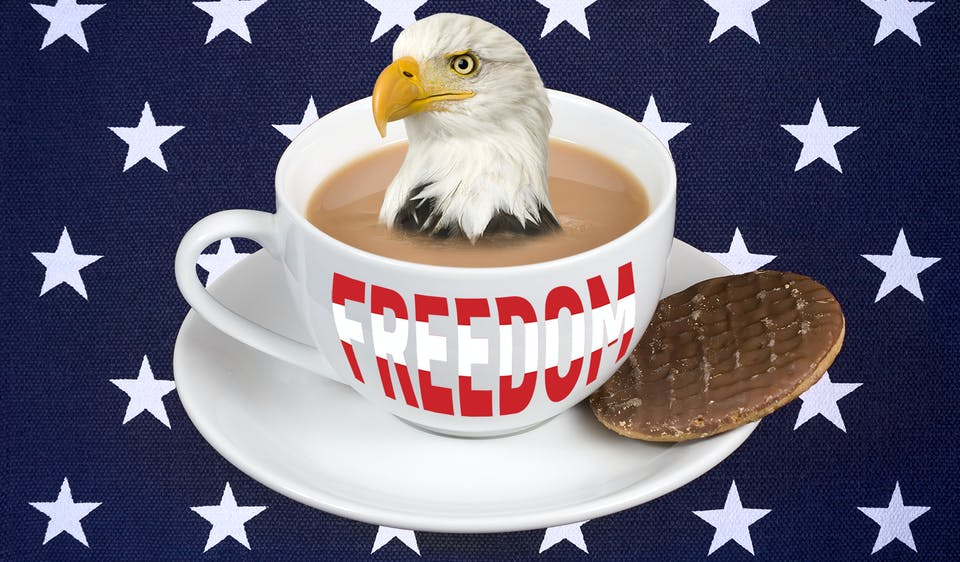 Cup of tea with an eagle on it and the cup says freedom and there's a biscuit