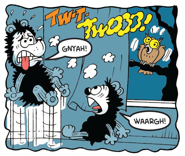 Gnasher can't sleep because of a pesky owl