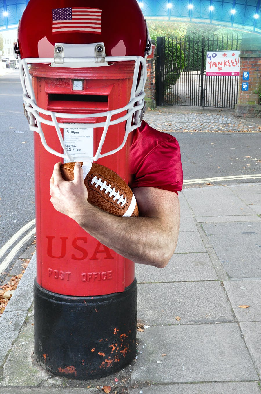 A post box playing american football