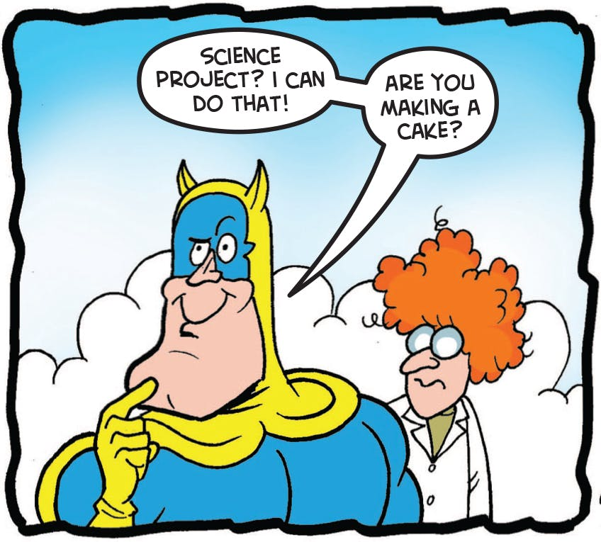 Bananaman talks to the scientist