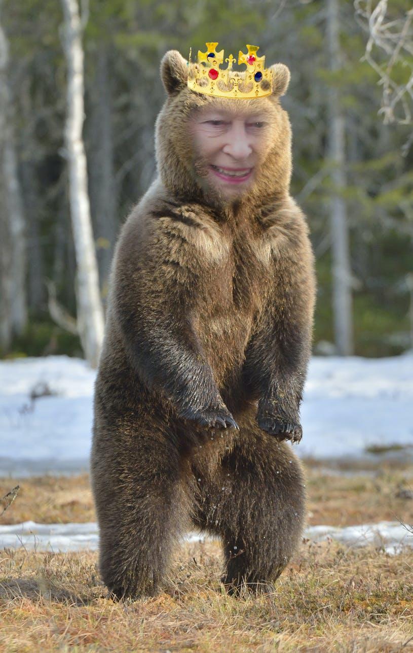 The Queen of England as a bear