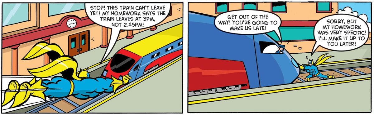 Inside Beano 3956 - Bananaman has some problems with public transport