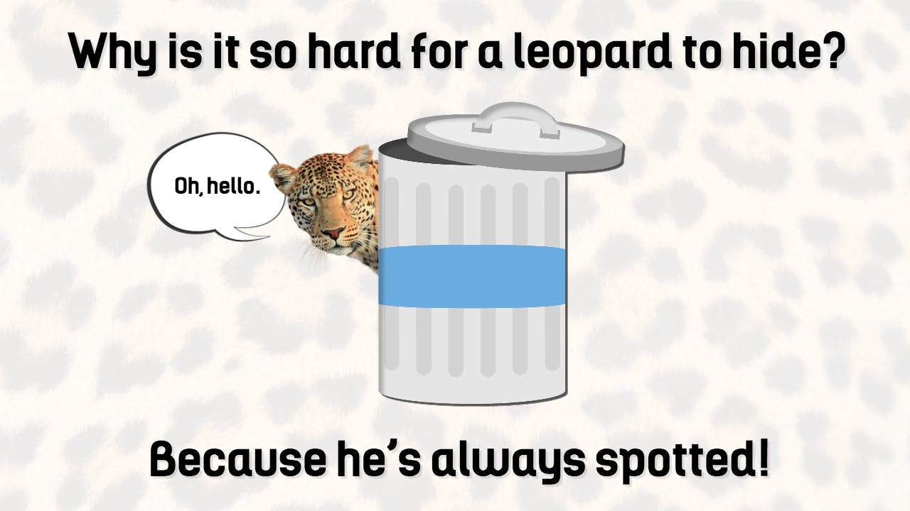 This is a picture of a leopard hiding behind a rubbish bin